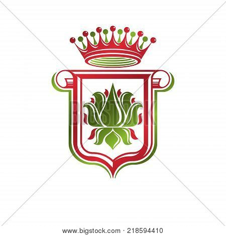 Vintage heraldic emblem created with monarch crown and lily flower royal symbol. Best quality product symbol organic food theme illustration guard shield made with cartouche.