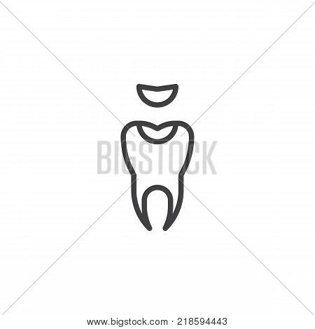 Decayed tooth line icon, outline vector sign, linear style pictogram isolated on white. Symbol, logo illustration. Editable stroke