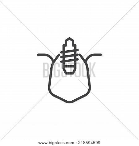 Dental implant line icon, outline vector sign, linear style pictogram isolated on white. Implant tooth symbol, logo illustration. Editable stroke