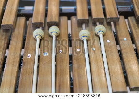 The close up xylophone and four mallets on the white background