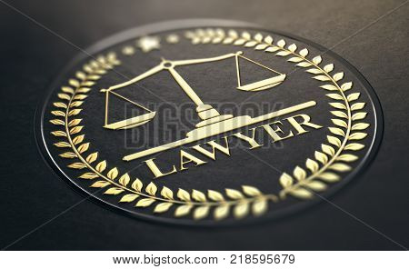 Lawyer symbol golden stamp with scales of justice and laurel wreath embossed on black paper background. 3D Illustration