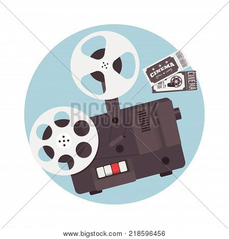 Old cinema projector with ticket. Elements for cinema banner flyer or poster. Vector illustration