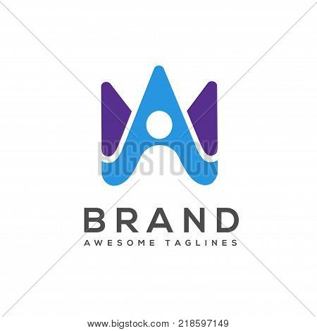 elegant best creative letter A with abstract human logo vector,Letter W vector icons logo template,creative letter A logo, letter A  Abstract business logo design template