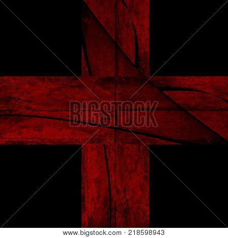Abstract red cross on a black background. Red and black.Red cross background. Red and black style.