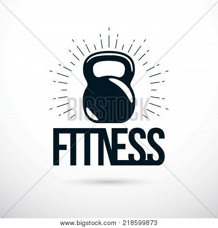 Logotype for heavyweight gym or fitness sport gymnasium vector illustration of kettle bell. Fitness lettering.