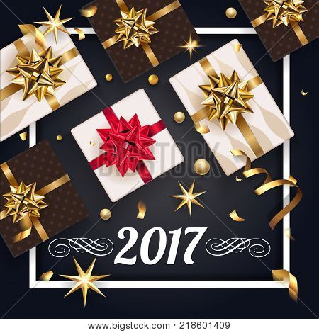 Christmas greeting black card with gift box and gold bow and gift. Happy New Year decoration with confetti and light garland. Christmas typographical background with gold stars and elements. Vector