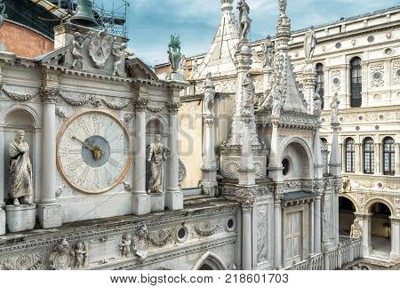 Doge`s Palace or Palazzo Ducale in Venice, Italy. Doge`s Palace is one of the main tourist destinations in Venice.