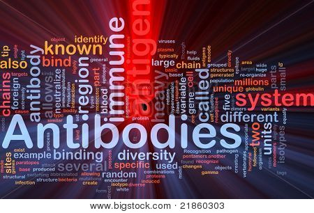 Background concept wordcloud illustration of medicine antibodies immunity glowing light