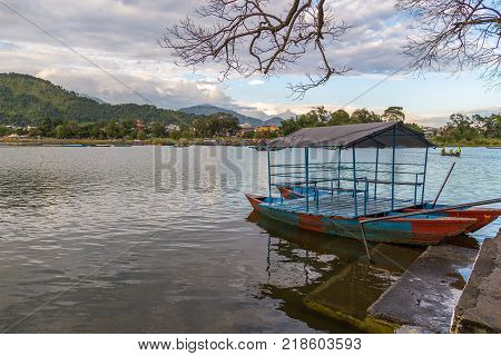 Boat on Phewa lakeside in Pokhara city Nepal.