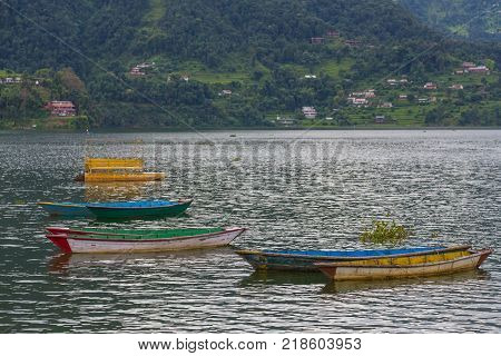 Rowboat symbol of Phewa lakeside in Pokhara city Nepal.