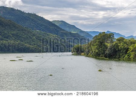 Views of Lake Side of Pokhara from Phewa Lake Pokhara Nepal