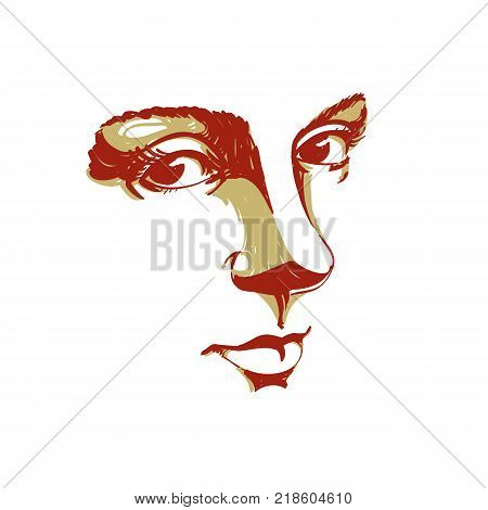 Hand-drawn silhouette of melancholic peaceful woman face delicate features. Face expression on lady face vector illustration.