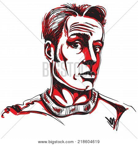Hand-drawn vector illustration of shocked man disbeliever theme. Artistic image expressions on face of young man.