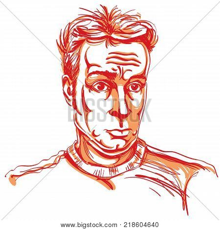 Colorful vector hand-drawn image surprised young man. Artistic illustration of shocked guy.