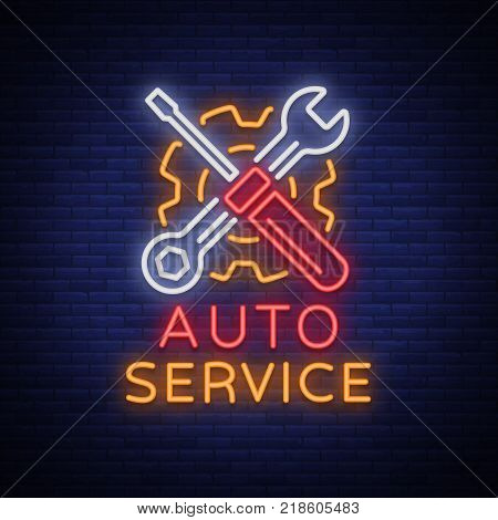 Car service repair logo vector, neon sign emblem. Vector illustration, car repair, shiny signboard for garage for auto repair. A flaming banner, a nightly bright signboard ad for your projects.