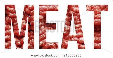 raw grounded meat text banner sample on white
