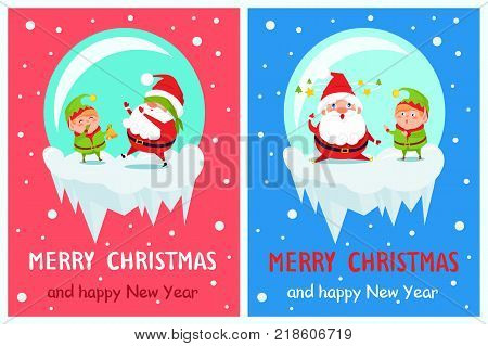 Postcard Merry Christmas Happy New Year Santa and Elf play hide-and-seek, covers eyes and sits fatigue on snow vector cartoon characters in icy balls