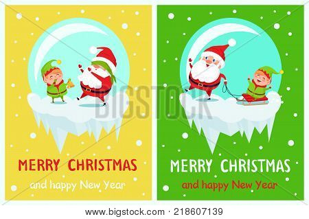 Merry Christmas and Happy New Year greeting card with Santa and Elf having fun together by playing hide-and-seek and riding on sleigh vector characters.