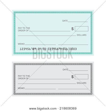 Blank Check Template. Check Vector Template. Banking Check Templ
