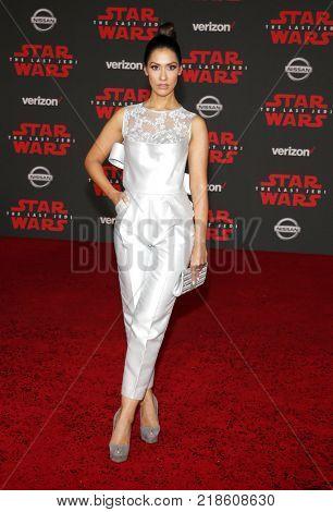 Janina Gavankar at the World premiere of 'Star Wars: The Last Jedi' held at the Shrine Auditorium in Los Angeles, USA on December 9, 2017.
