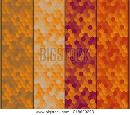 Set of seamless patterns with shadow at the intersections, made up of concave semi-transparent hexagons with a chamfer on backgrounds of different colors, together looking like the endless stylized honeycomb with honey and propolis