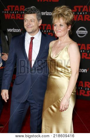 Andy Serkis and Lorraine Ashbourne at the World premiere of 'Star Wars: The Last Jedi' held at the Shrine Auditorium in Los Angeles, USA on December 9, 2017.