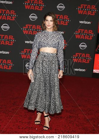 Cobie Smulders at the World premiere of 'Star Wars: The Last Jedi' held at the Shrine Auditorium in Los Angeles, USA on December 9, 2017.