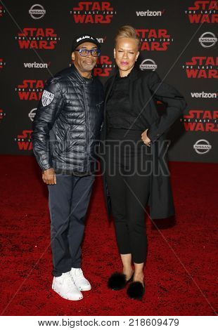 Spike Lee and Tonya Lewis Lee at the World premiere of 'Star Wars: The Last Jedi' held at the Shrine Auditorium in Los Angeles, USA on December 9, 2017.