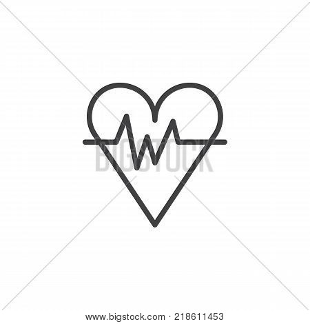 Heart with beat waves line icon, outline vector sign, linear style pictogram isolated on white. Heartbeat symbol, logo illustration. Editable stroke