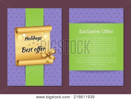 Holidays best exclusive offer inscription on golden paper scroll parchment manuscript scrolled document vector illustration isolated banner with text