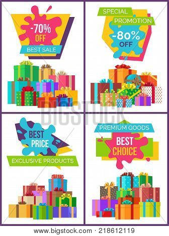 Set of posters on exclusive labels on all products discounts, promo banner with label on it, ribbon and text, blot with title vector and piles of gifts
