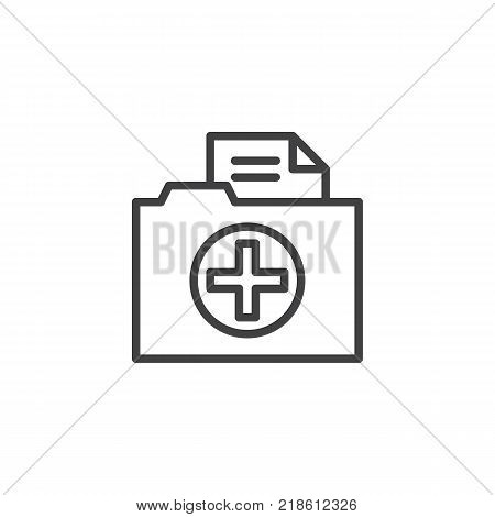 Medical history folder line icon, outline vector sign, linear style pictogram isolated on white. Symbol, logo illustration. Editable stroke