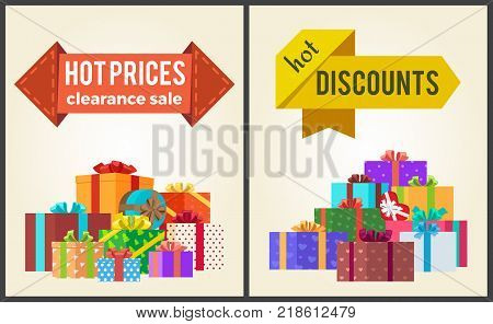Hot prices discounts clearance sale arrow shape labels on posters with mountains of gift boxes vector illustrations isolated on white background