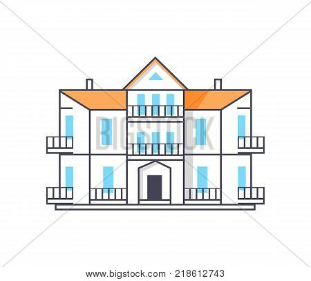 Icon of building with entrance, glass windows, yellow roof and chimneys represented on vector illustration isolated on white background