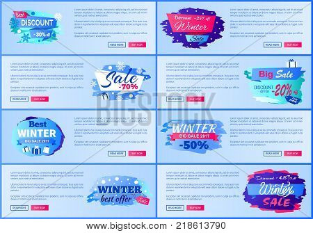 Best discount -30 off winter sale, collection of web pages with different headline decoration and text sample on vector illustration