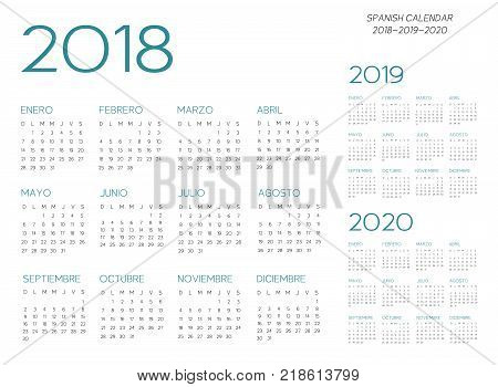 Spanish Calendar 2018-2019-2020 vector text is outline font is armata