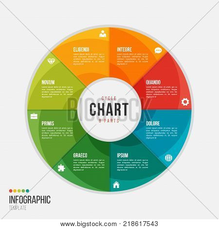 Cycle chart infographic template with 8 parts, options, steps for presentations, advertising, layouts, annual reports
