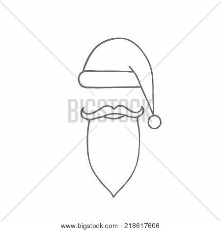 Santa hat, moustache and beard. Christmas elements for greeting design.