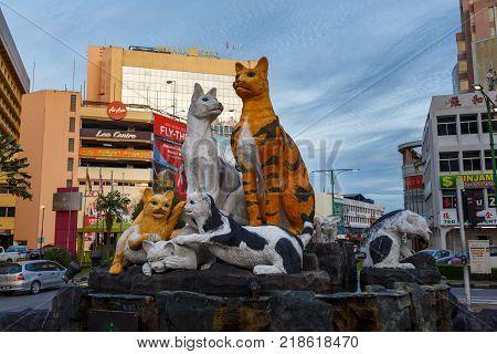 Kuching, Malaysia - November 25, 2017: Cats monument at the downtown Kuching, Sarawak Malaysia. This monument is a landmark for Kuching city.
