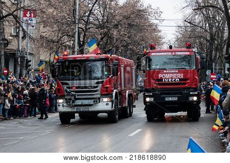 TIMISOARA ROMANIA - DECEMBER 1 2017: National Day parade in Romania. Fire department. Fire engine.