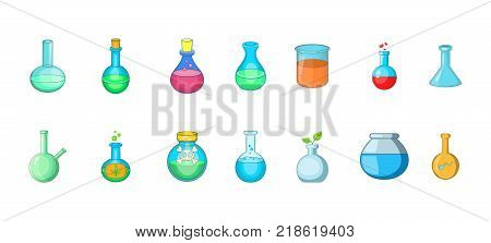 Chemical bottle icon set. Cartoon set of chemical bottle vector icons for web design isolated on white background