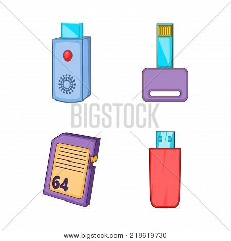 Flash disk icon set. Cartoon set of flash disk vector icons for web design isolated on white background