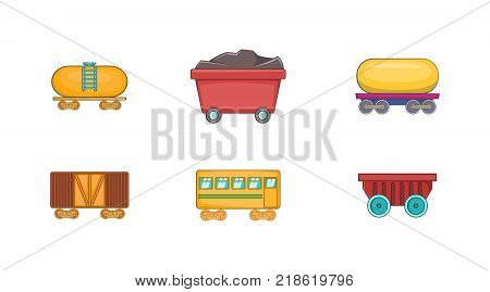 Wagon icon set. Cartoon set of wagon vector icons for web design isolated on white background