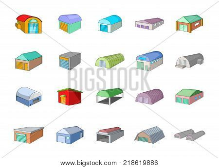 Warehouse icon set. Cartoon set of warehouse vector icons for web design isolated on white background