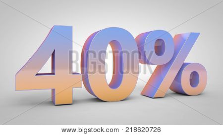 40% gradient text isolated on white background, 3d render.