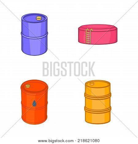 Oil barrel icon set. Cartoon set of oil barrel vector icons for web design isolated on white background