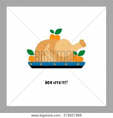 Baked turkey flat vector illustration. Bon Appetit greeting or invitation card design. Traditional xmas dish in flat style. Isolated on white background
