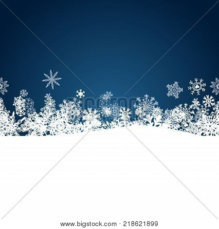 Christmas blue background with white snowflakes border