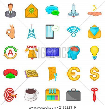 Coworking icons set. Cartoon set of 25 coworking vector icons for web isolated on white background