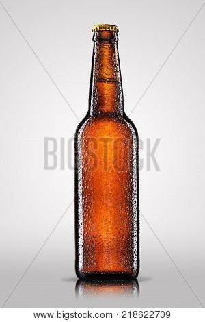 Cold bottle of beer with drops isolated on gray background.